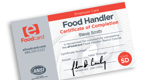 South Dakota food handlers card