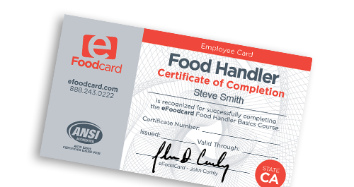 Food Handler Certificate of Completion